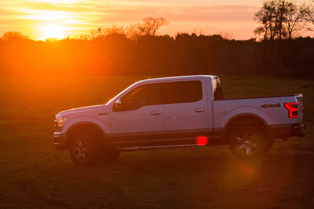 truck at sunset